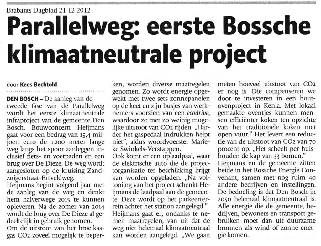 Parallelweg eerste Bossche klimaatneutrale project