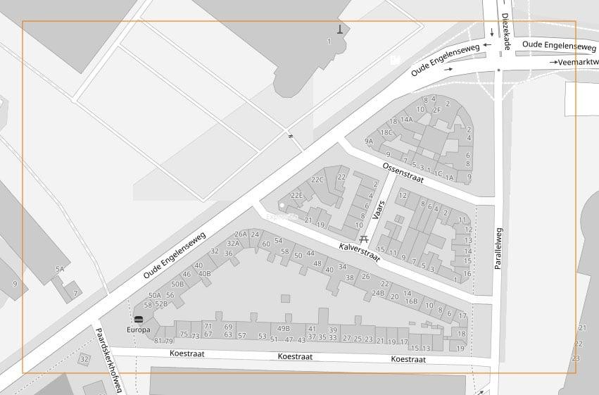 Kaartje van het Veemarktkwartier in 's-Hertogenbosch