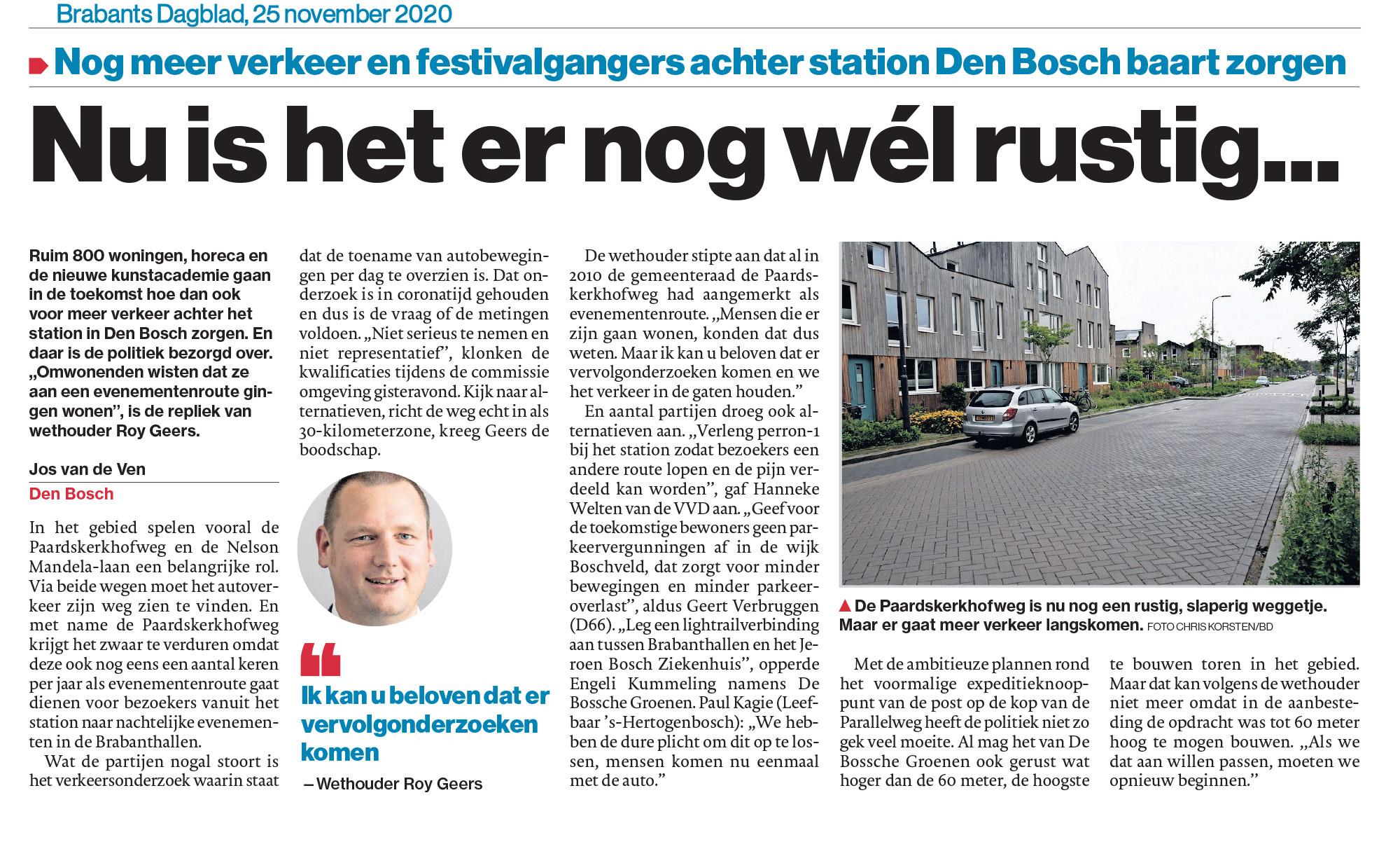 Artikel brabants dagblad over verkeer door Paardskerkhofweg
